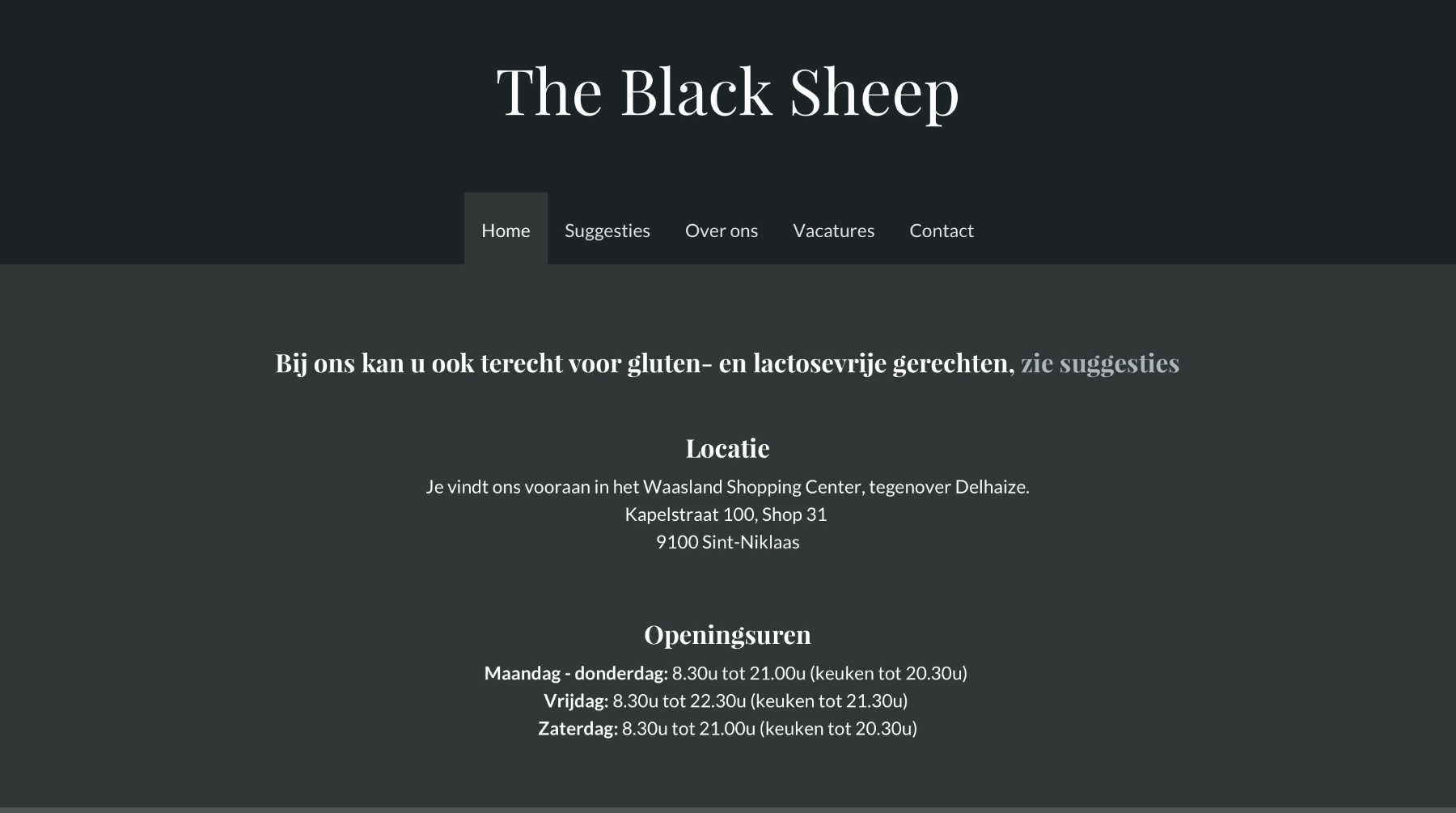 afbeelding van de website van The Black Sheep